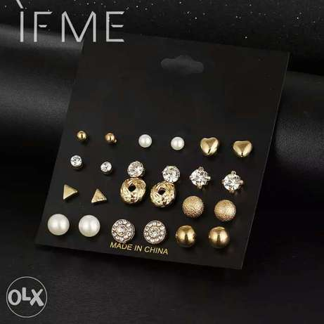 12 Pcs/Set Crystal Alloy Round Ball Gold Color Stud Earrings Vintage Lagos Mainland - image 4