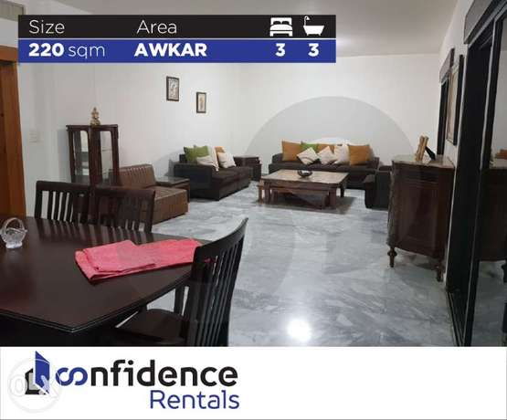 FULLY FURNISHED 220 SQM apartment For rent in Awkar REF#ZA40457