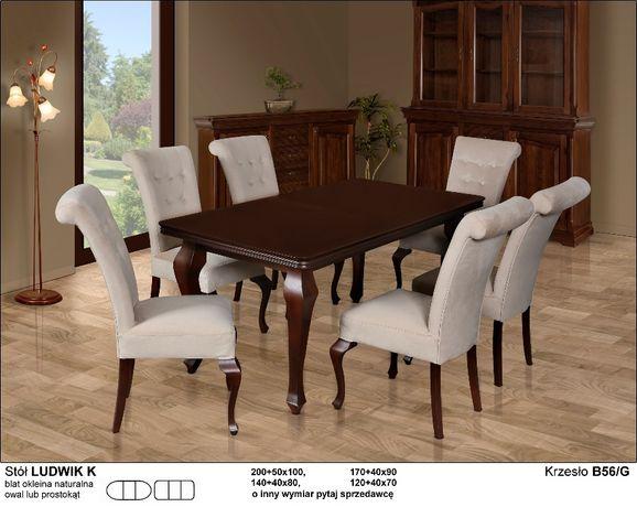 Stół Drewniany Rozkładany Ludwik Iii K 6 Krzeseł B56g Biały Połysk