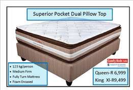 Superior Pocket Dual Pillow top Queen sets at factory low prices!