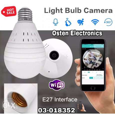 SDETER Bulb Lamp Wireless IP Camera Wifi 960P Panoramic FishEye Home S