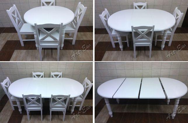 Stół Okrągły Rozkladany Biały Krzesła Dąb Ecru Wanilia Salon