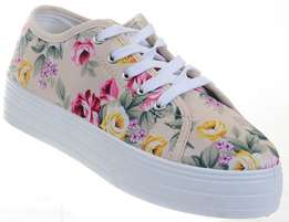 Floral Lace-Up Low Top Flat Sneakers For Women - Size 42