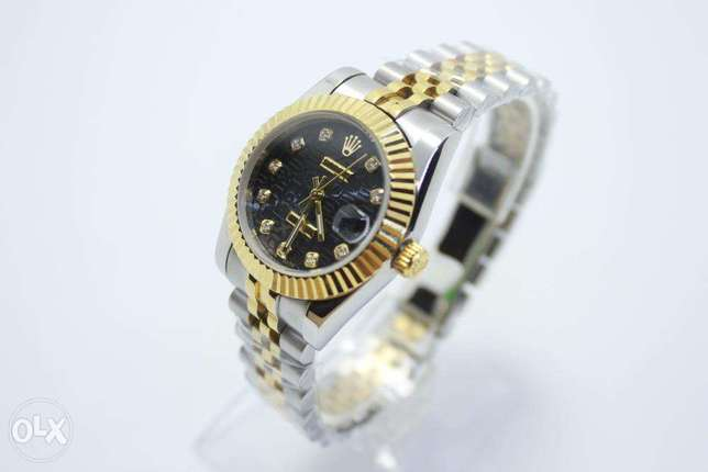 Datejust HalfGold Black Dial For women ساعة حريمي