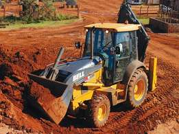 TLB for hire. R250 per hour at a dry rate