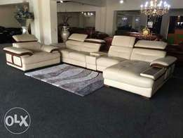 L shape cream sofa chair with extra single