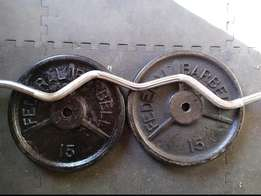 Weights 2X15KG + Barbell.