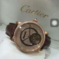 Cartier Geneve leather diamond wrist watch