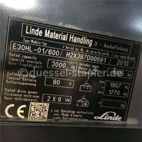 Linde E30hl 01 / 600 3to/triplex 6.000hh/weißreif - 2013 - image 2