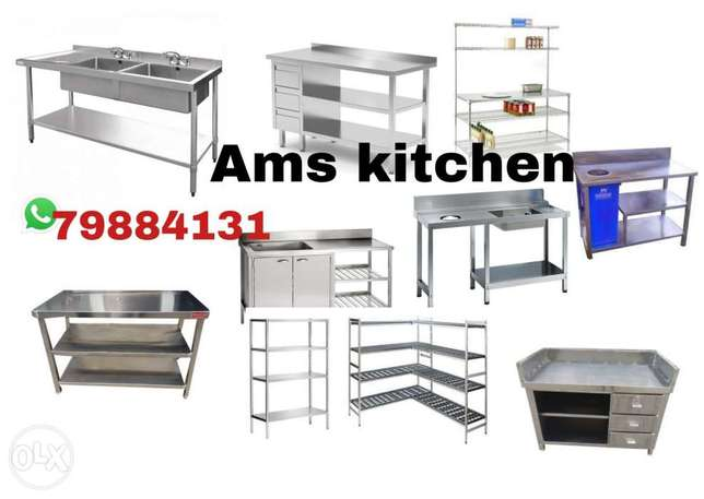 Stainless steel table,sink and shelves
