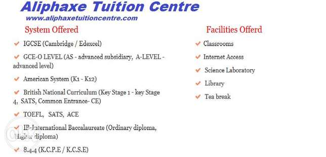 IGCSE,8.4.4,GCE- O,AS & A level at Aliphaxe Tuition Centre Hurlingham - image 1