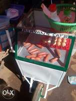 Trolley carries 3packets of smokies and 2 trays of boiled eggs at a go