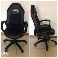 Black leather and fabric office chair