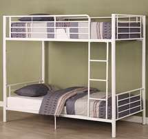 Brand New Singe Metal Bunk Bed with Ladder in White!!(Beds excluded)