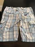 blue check Superdry cargo shorts