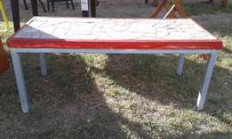 Red Border Tile Top Table