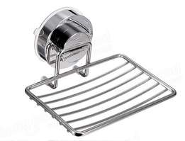 Stainless steel soap holder with twist and lock sunction cup