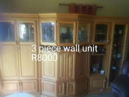 3 piece wall unit. Kiaat wood