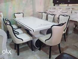 6 seater marble dining table with chairs