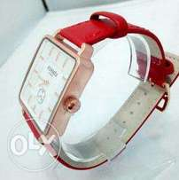 Hermes Red leather watch