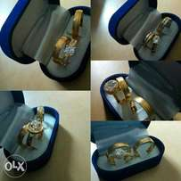 Gold plated 3pcs wedding Rings set