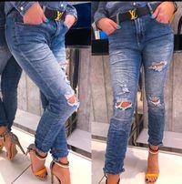 Włoskie jeansy z dziurami boyfriend style s m l xl 98c019da87