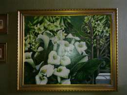 Arum Lily's Extra Large Original Oil on Canvas for Sale!