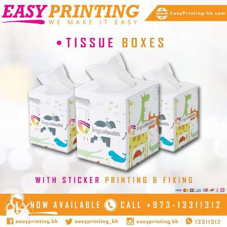 Tissue Boxes Sticker Printing - with Free Delivery Service!