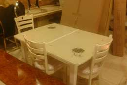Mini executive dining table adjustable 4 to 6 with 4 chairs