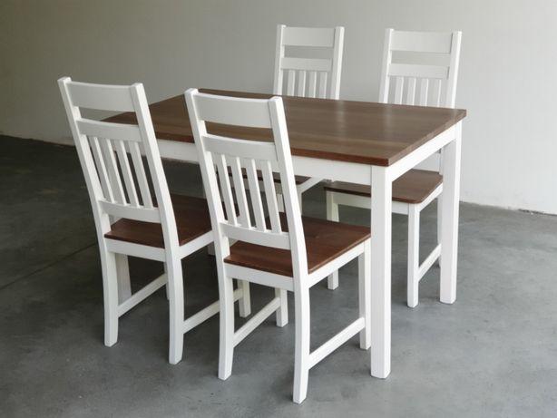 Zestaw Biały Stół 4 Krzesła Do Kuchni Restauracji Baru
