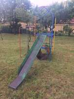 Small jungle gym with slide