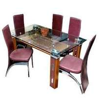 Glass dining table t74 plain top brown color