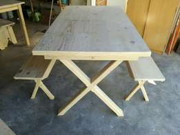 6 Seater dining room table with benches