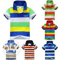 Boys Short Sleeve Polo Style Striped Shirt – Blue