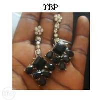 Black and silver stone earrings