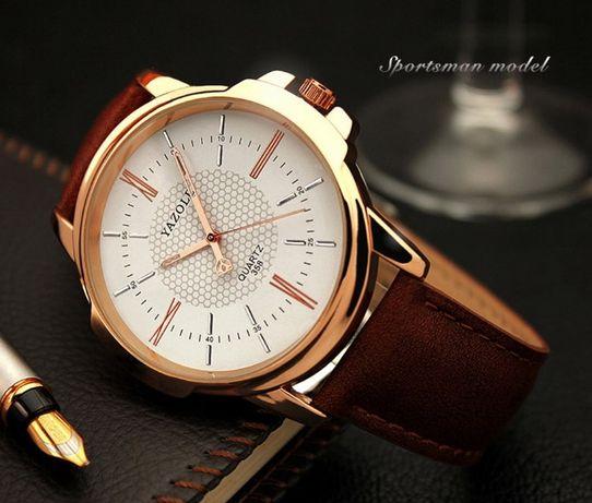 Мужские кварцевые часы YAZOLE 358 Кожаный ремешок Красный Лиман -  изображение 4 9a06d24343ecc