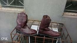 Long brown leather steel-toe safety boots