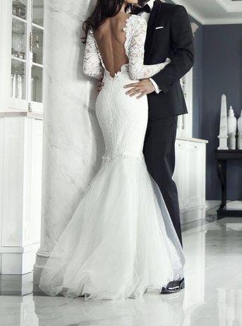 Suknia ślubna Syrenka 34 Xs Agnieszki światły Koronkowa Tiul Rybka
