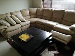 Corner Full Leather reclining Couch and Double Leather Ottoman