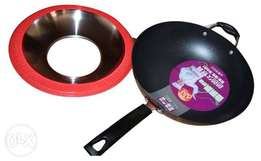 34 inch deep pan accompanied by a lid and double handle