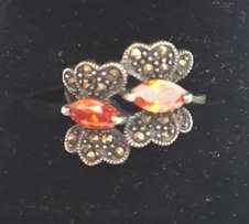 Sterling Silver Ring with Marcasite and Garnets