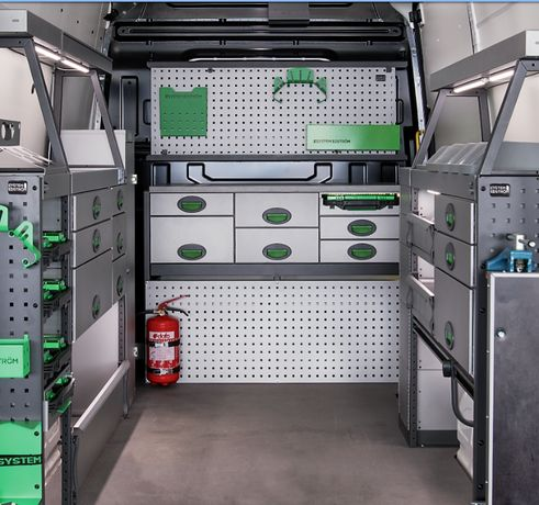Zabudowa Bus Dostawcze Regał Półki System Edström Szuflady