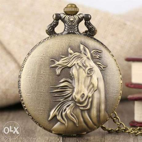Vintage Bronze Pocket Watch Quartz Retro Horse Full Hunter Pendant Wat