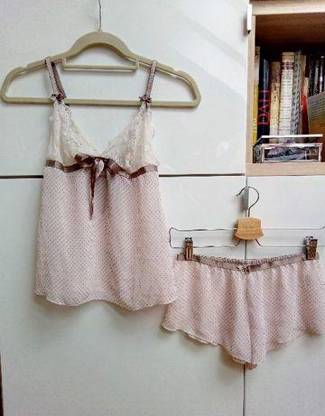 04b01c7ca97c2 Bielizna nocna piżamka komplet biszkoptowy pudrowy róż Szczecin - image 1