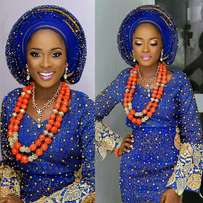 Blue and gold ASO oke with coral bead.