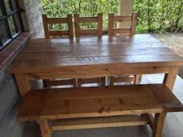 6 seater dining table with 3 chairs and 3 seat bench
