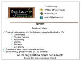 Tuition for matriculants and highschool kids