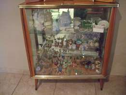 Vintage Display Cabinet - Glass Sliding Doors with mirror back
