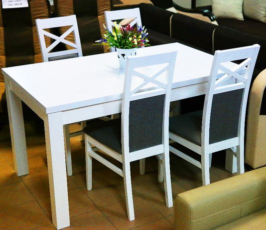 Zestaw Do Jadalni Alaska Stół4 Krzesła Białe Martex Meble