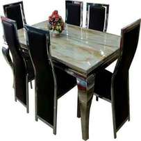 marble dining table cream color animal leg by6 black chairs